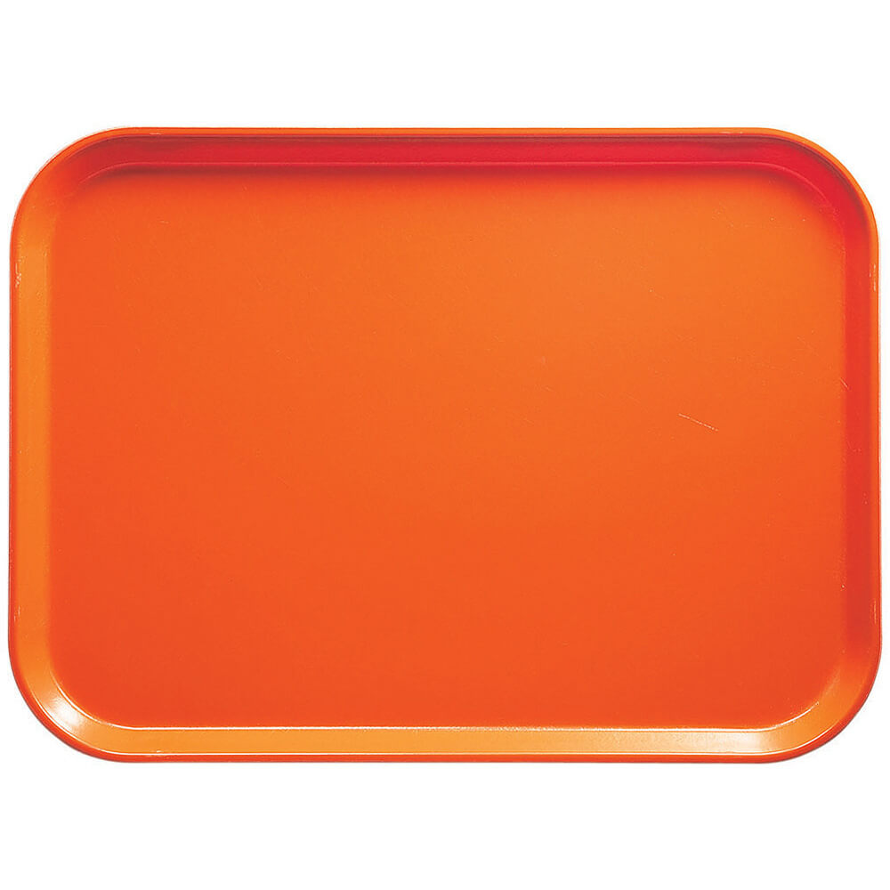 "Citrus Orange, 14"" x 18"" Food Trays, Fiberglass, 12/PK"