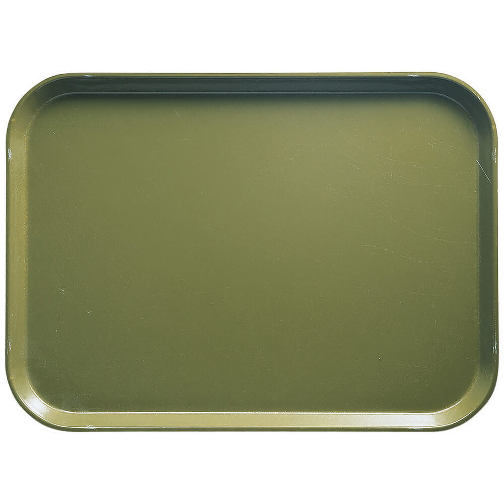 "Olive Green, 16.5"" x 22.5"" x 1-1/16"" Food Trays, Fiberglass, 12/PK"