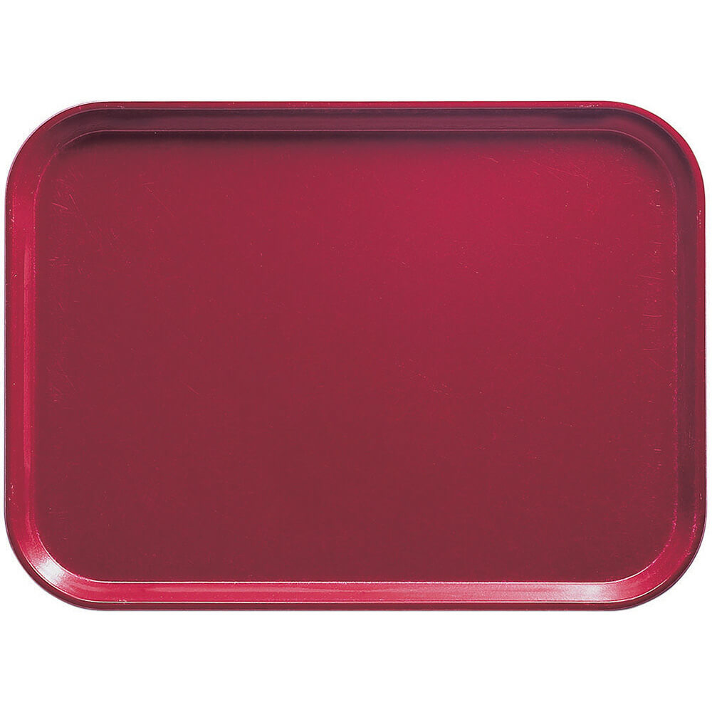 "Cherry Red, 13"" x 18"" x 1-1/16"" Food Trays, Fiberglass, 12/PK"