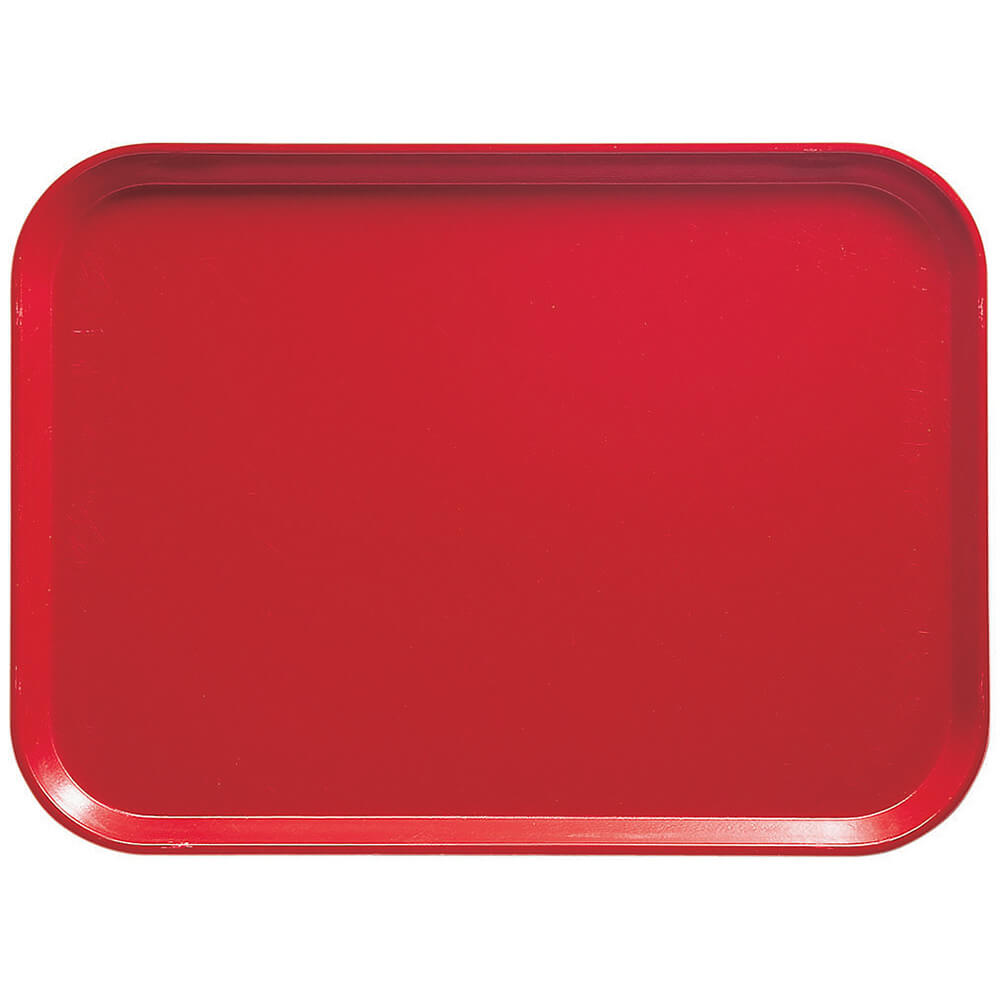 "Signal Red, 13"" x 18"" x 1-1/16"" Food Trays, Fiberglass, 12/PK"