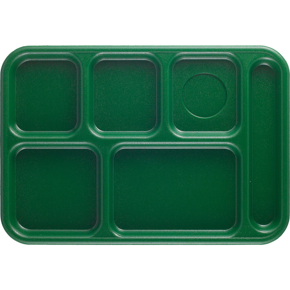 Sherwood Green, 6-Compartment Polycarbonate Lunch Tray, 24/PK