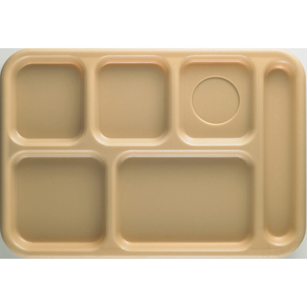 Tan, 6-Compartment Plastic Lunch Tray, 24/PK