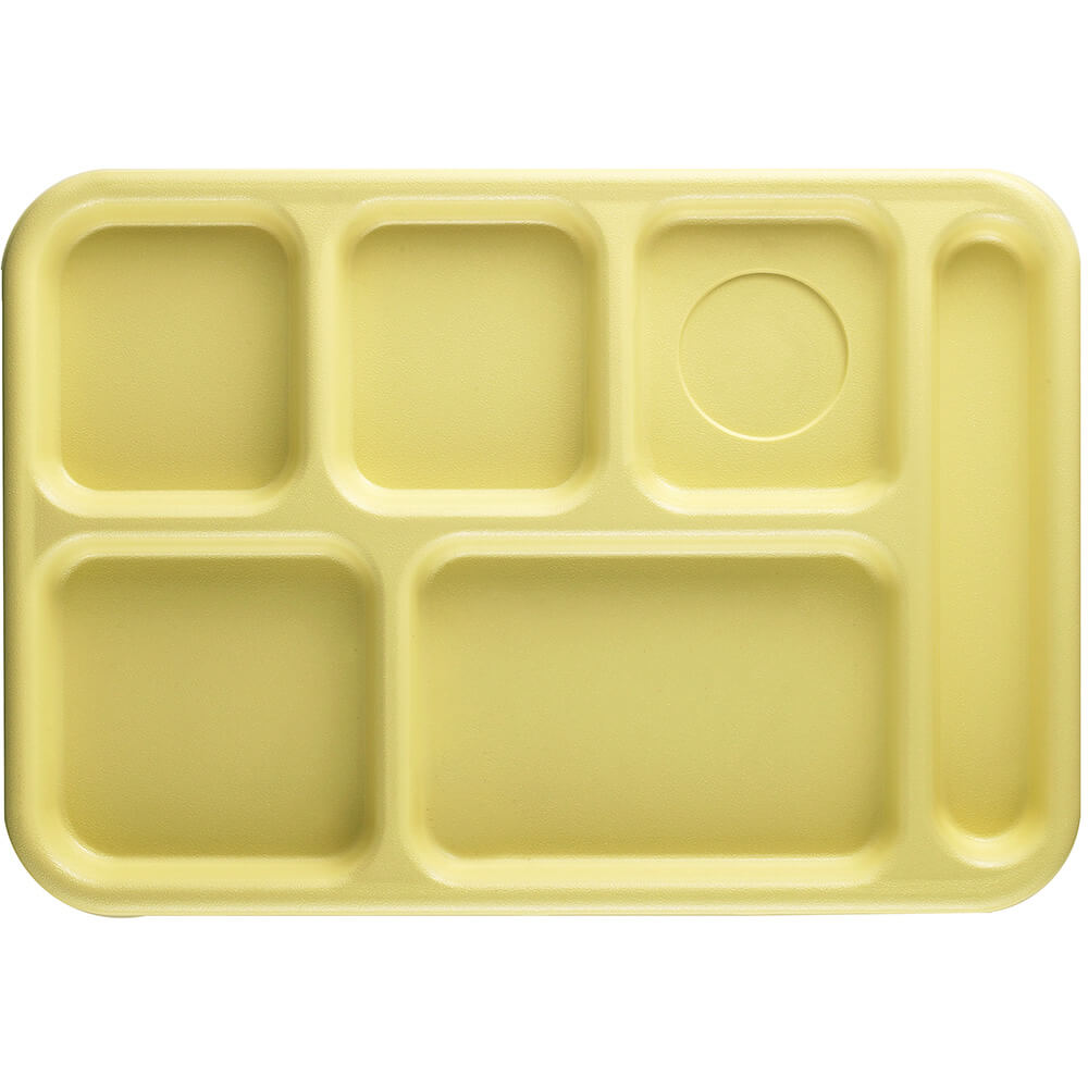 Yellow, 6-Compartment Plastic Lunch Tray, 24/PK