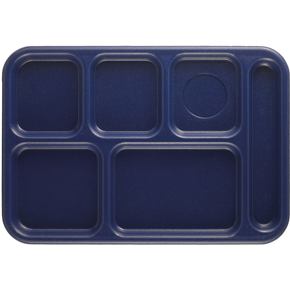 Navy Blue, 6-Compartment Polypropylene Lunch Tray, 24/PK