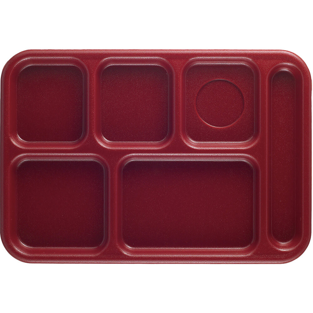 Cranberry, 6-Compartment Polypropylene Lunch Tray, 24/PK