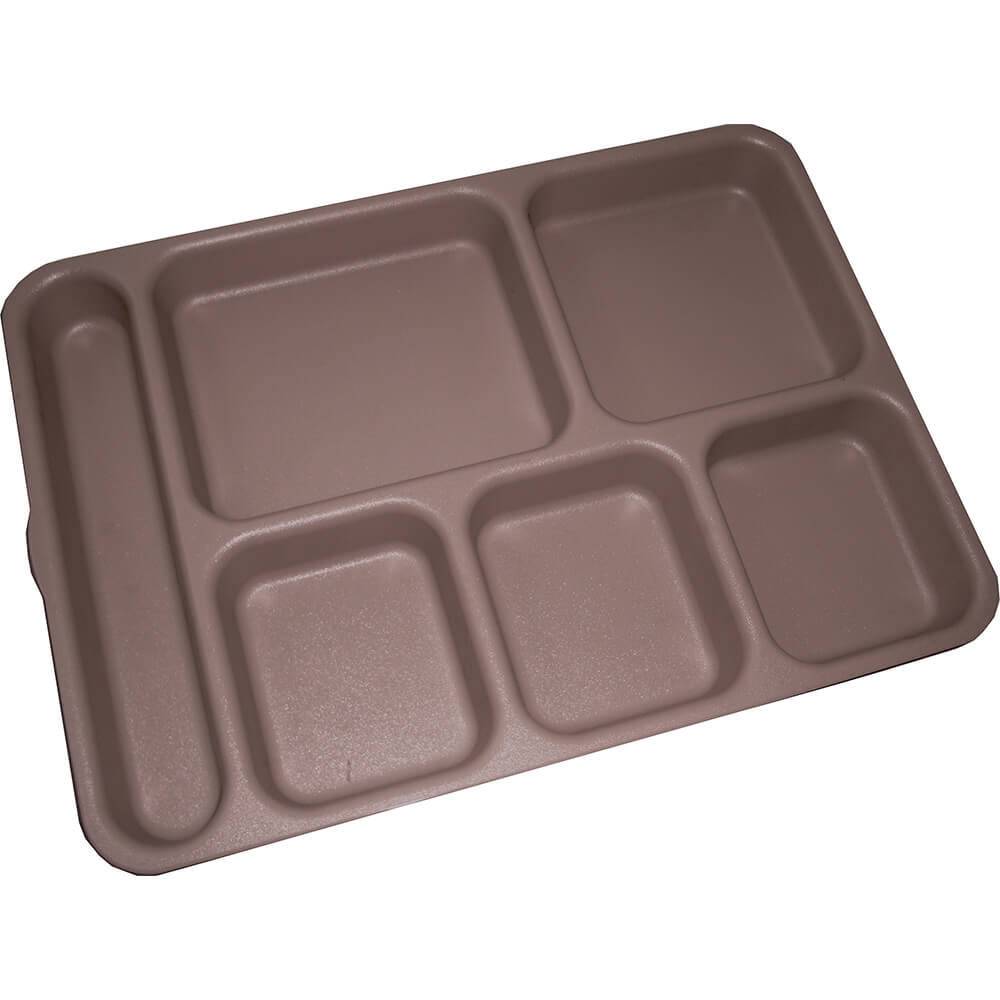 Brown, 6-Compartment Co-Polymer Meal Separator Tray, 24/PK