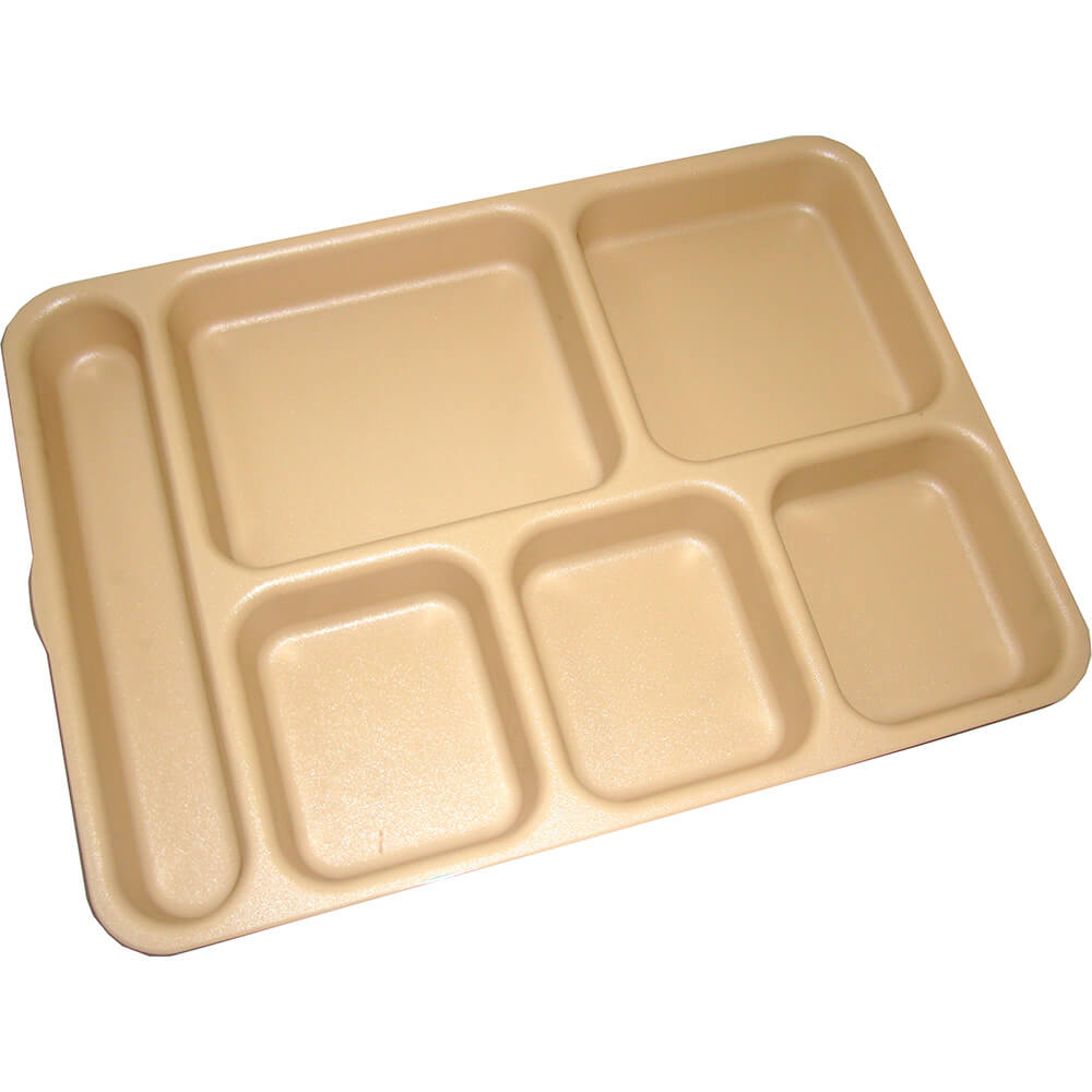 Beige, 6-Compartment Polycarbonate Meal Separator Tray, 24/PK