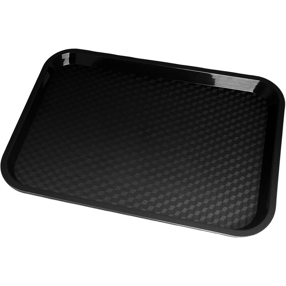 "Black, 10"" x 14"" Fast Food Trays, 24/PK"