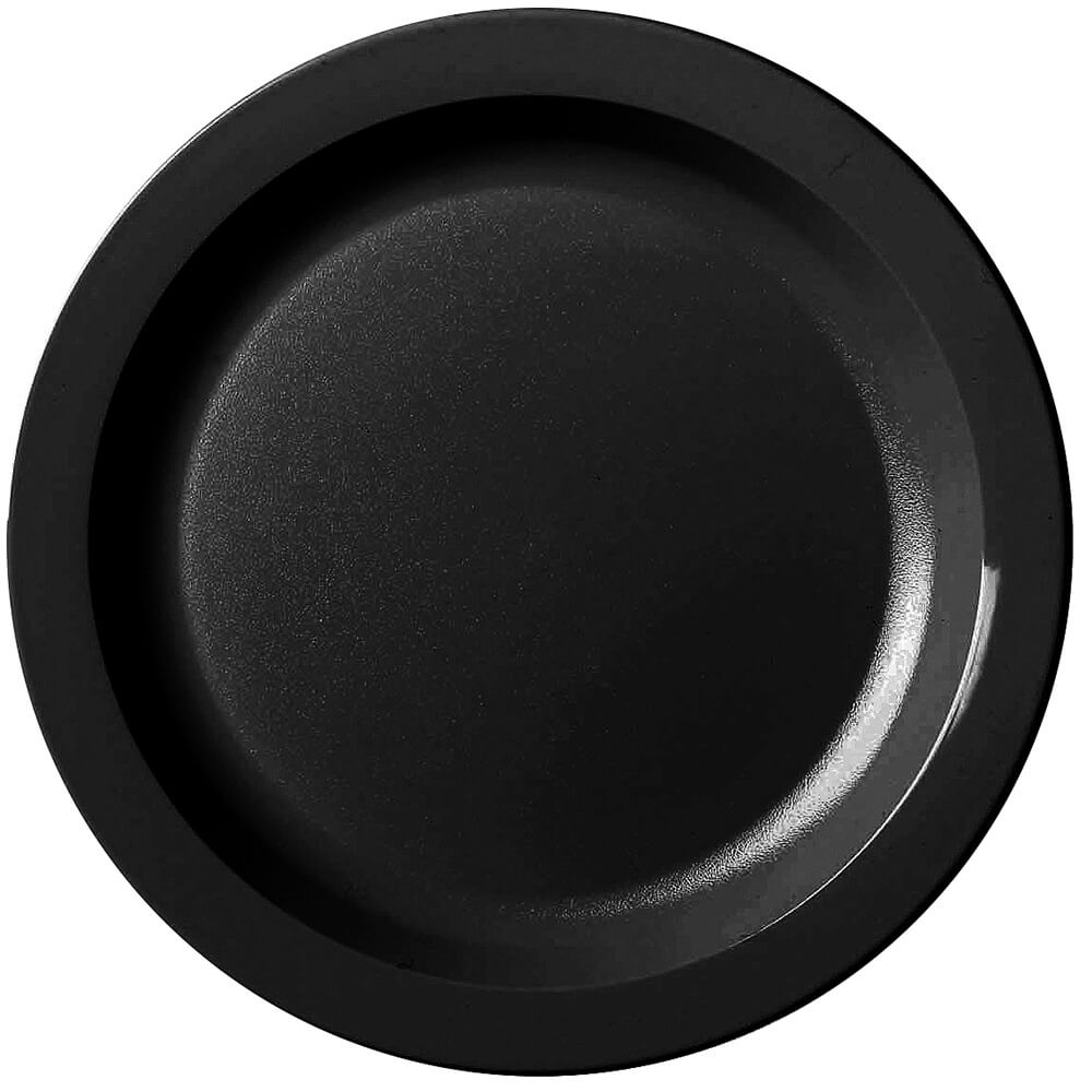 "Black, 10"" Narrow Rim Plate, Unbreakable Dinnerware, 48/PK"