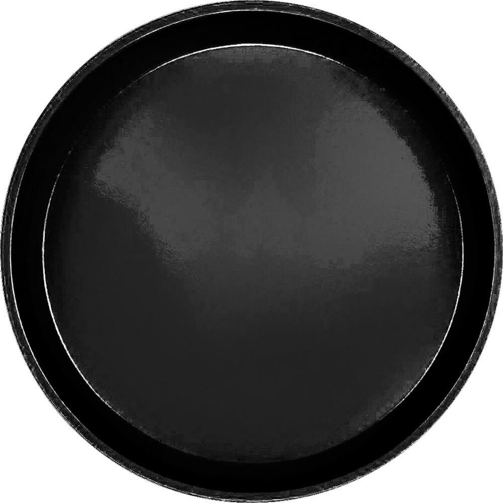 "Black, 11"" Round Serving Tray, Fiberglass, 12/PK"