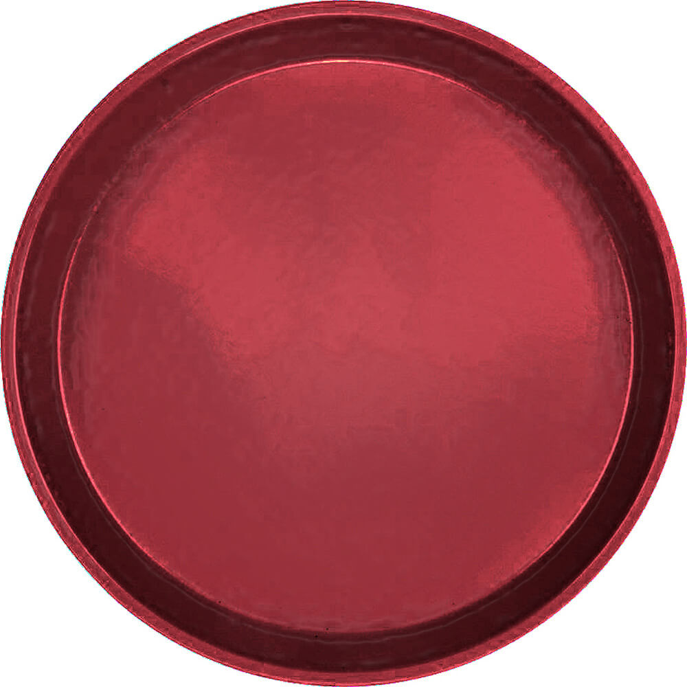 "Cherry Red, 9"" Round Serving Tray, Fiberglass, 12/PK"