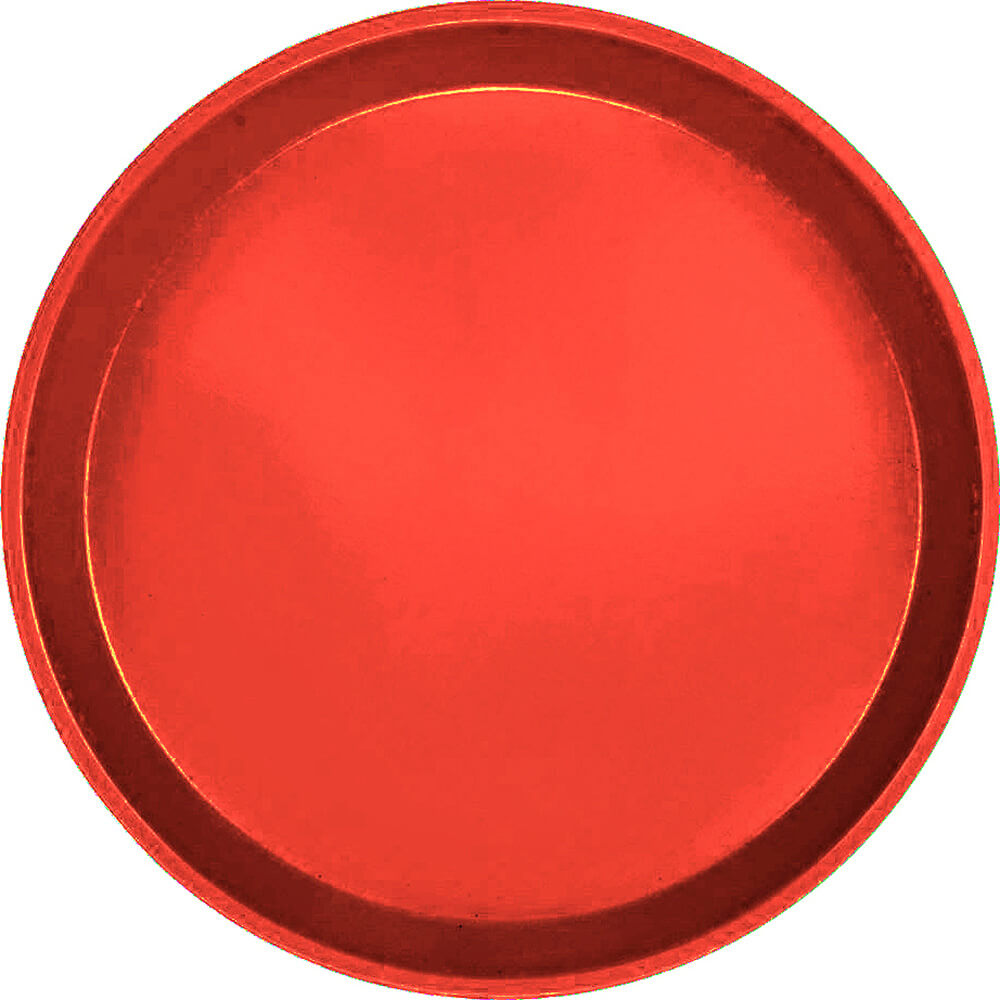 "Signal Red, 9"" Round Serving Tray, Fiberglass, 12/PK"