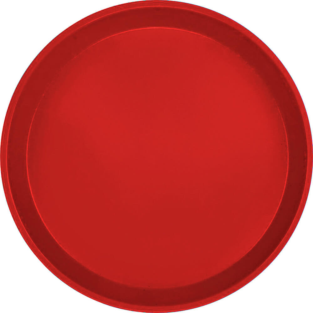 "Cambro Red, 12"" Round Serving Tray, Fiberglass, 12/PK"
