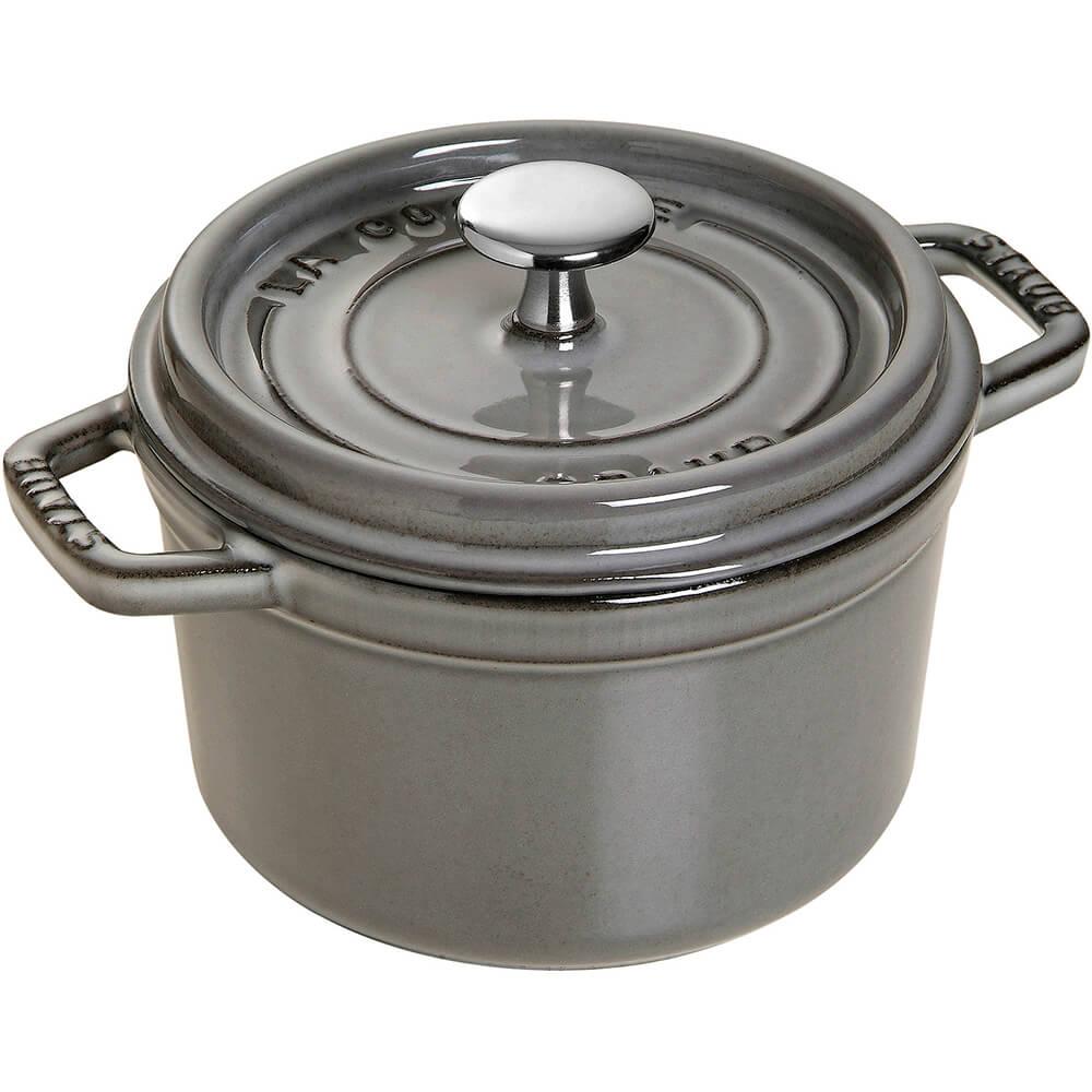 Graphite Grey, Round Cast Iron Cocotte, 0.75 Qt