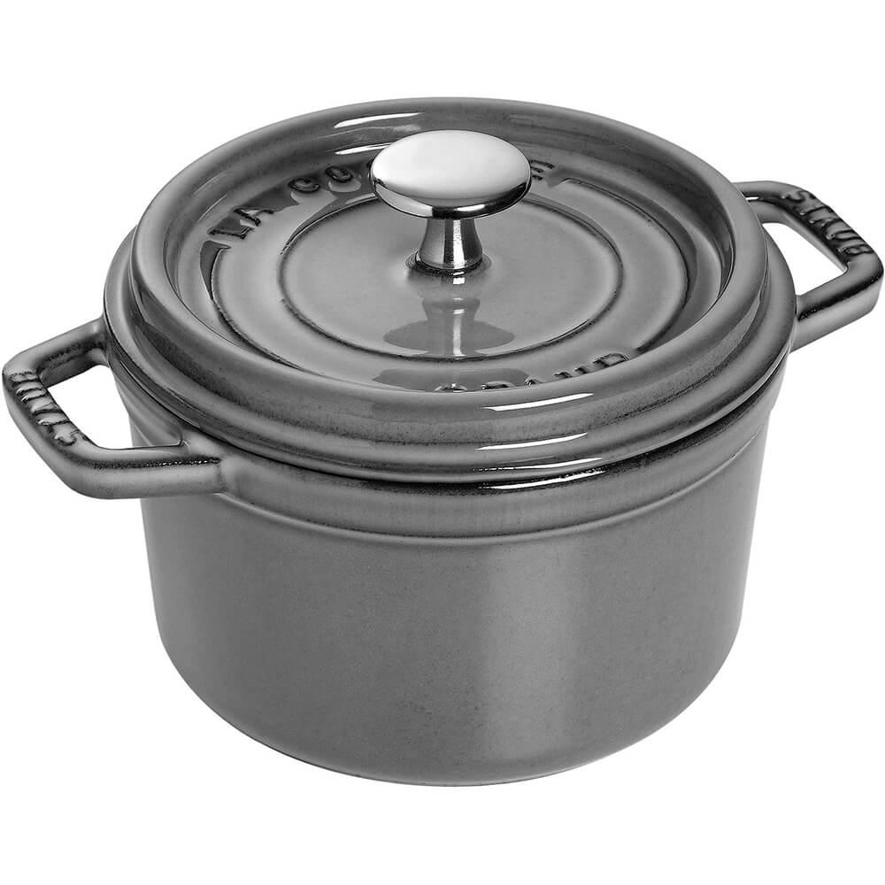 Graphite Grey, Round Cast Iron Cocotte, 1.5 Qt