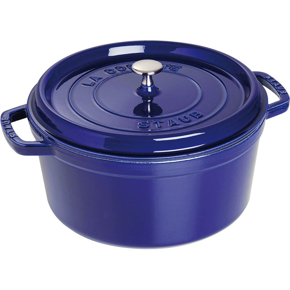 Dark Blue, Round Cast Iron Cocotte, 2.75 Qt