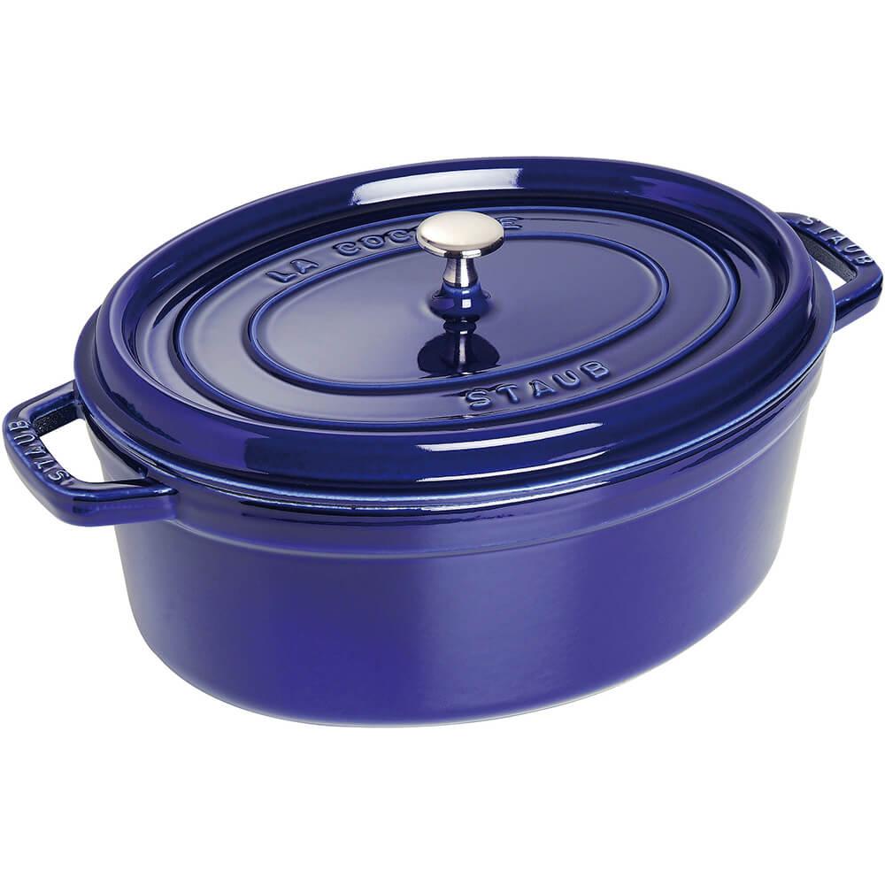 Dark Blue, Oval Cast Iron Cocotte, 8.5 Qt