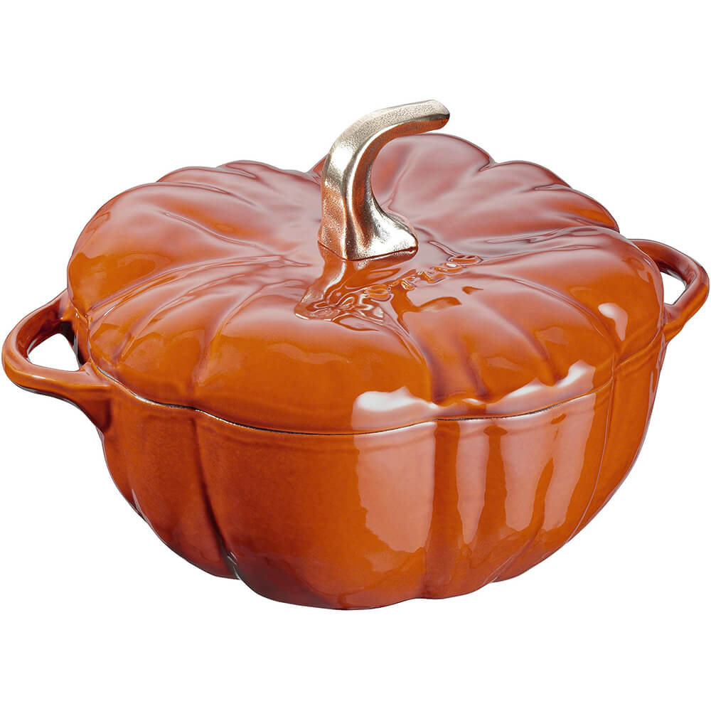 Orange, Pumpkin Shape Cast Iron Cocotte, 3.5 Qt