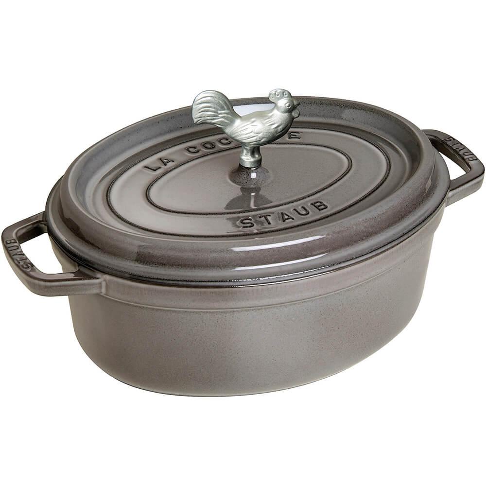 Graphite Grey, Oval Coq Au Vin Cast Iron Cocotte, 4.25 Qt