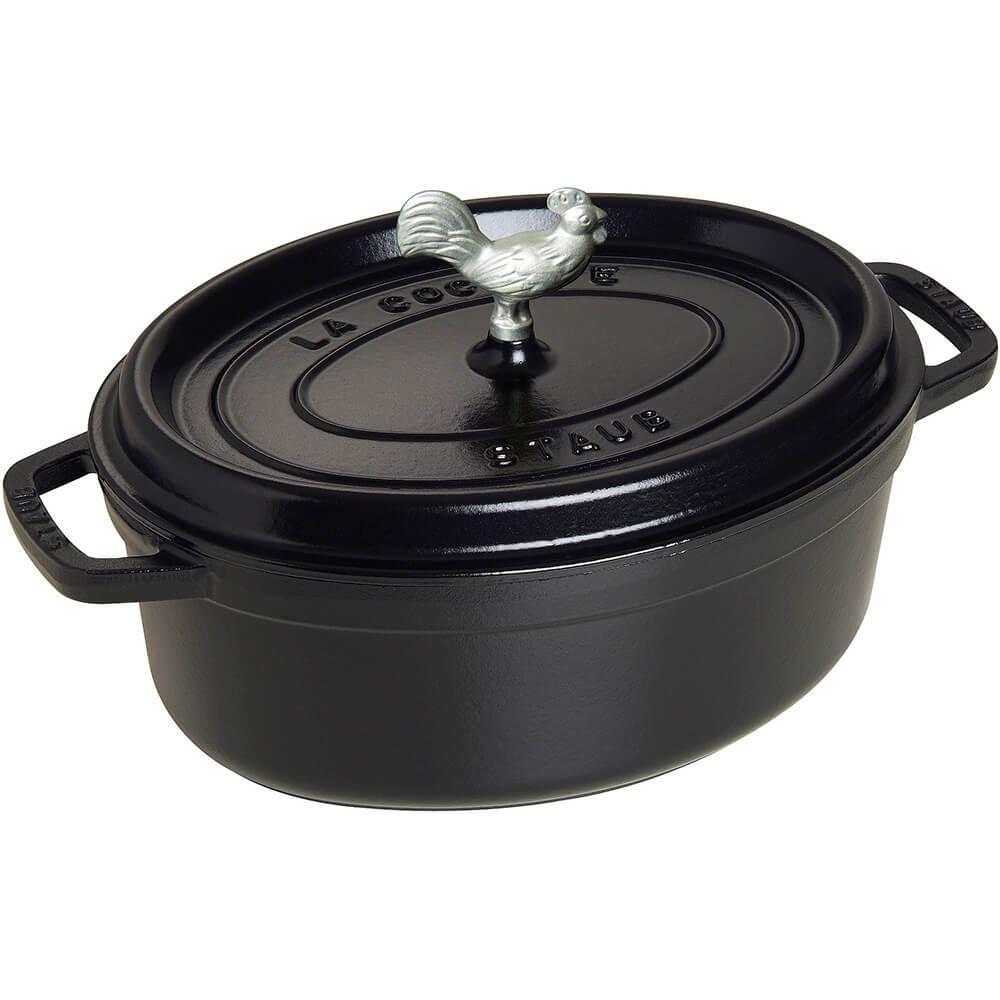 Black Matte, Oval Coq Au Vin Cast Iron Cocotte, 4.25 Qt