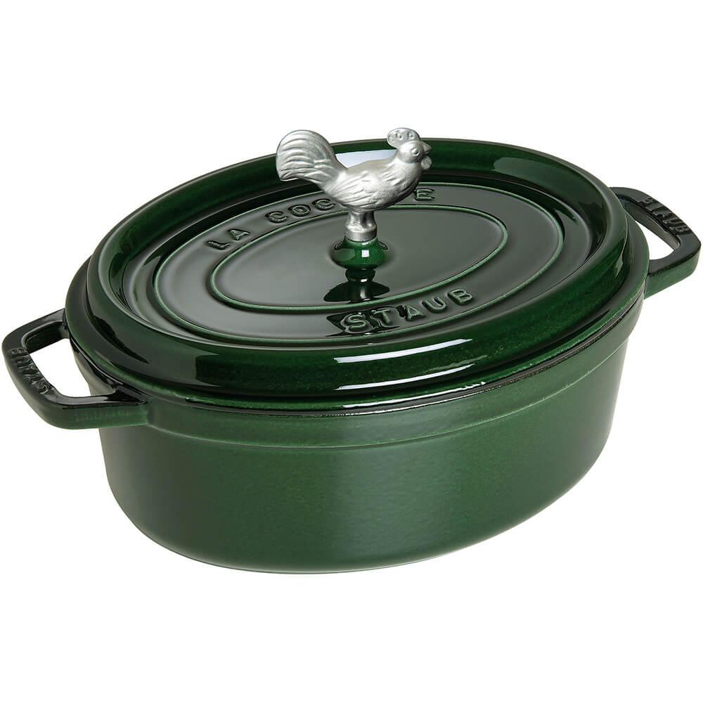 Basil, Oval Coq Au Vin Cast Iron Cocotte, 4.25 Qt