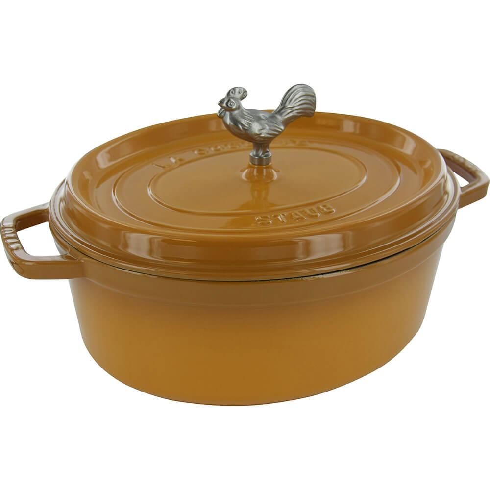 Saffron, Oval Coq Au Vin Cast Iron Cocotte, 5.75 Qt