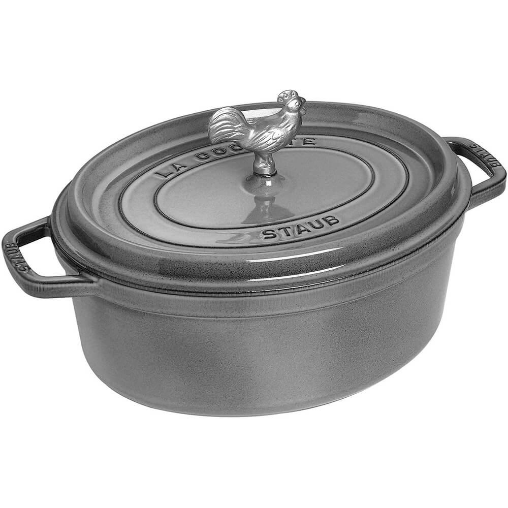 Graphite Grey, Oval Coq Au Vin Cast Iron Cocotte, 5.75 Qt