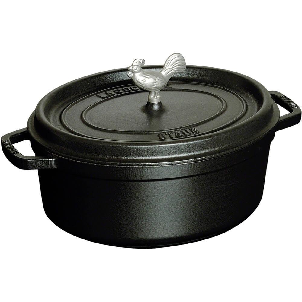 Black Matte, Oval Coq Au Vin Cast Iron Cocotte, 5.75 Qt