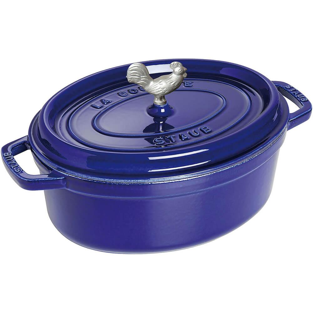 Dark Blue, Oval Coq Au Vin Cast Iron Cocotte, 5.75 Qt
