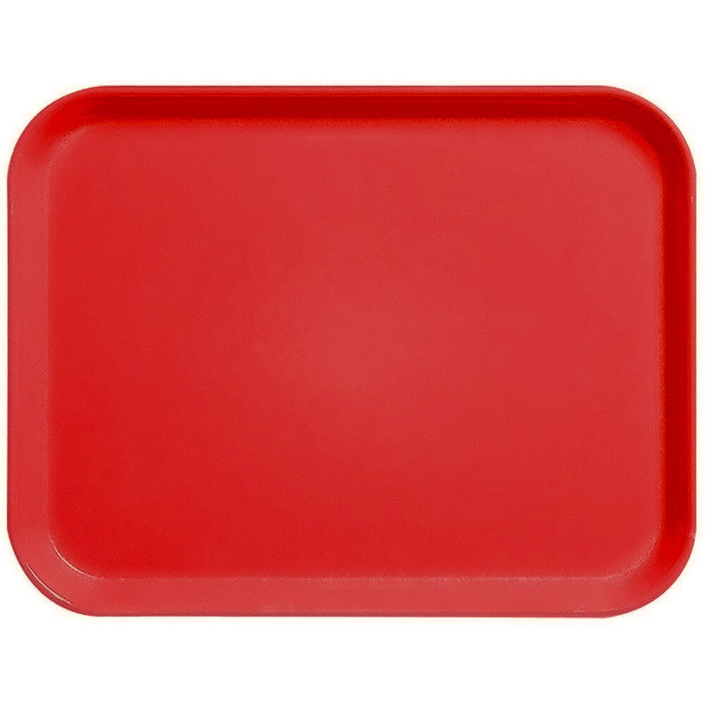 "Steel Red, 10"" x 14"" Fiberglass Food Trays, Economy Line, 12/PK"