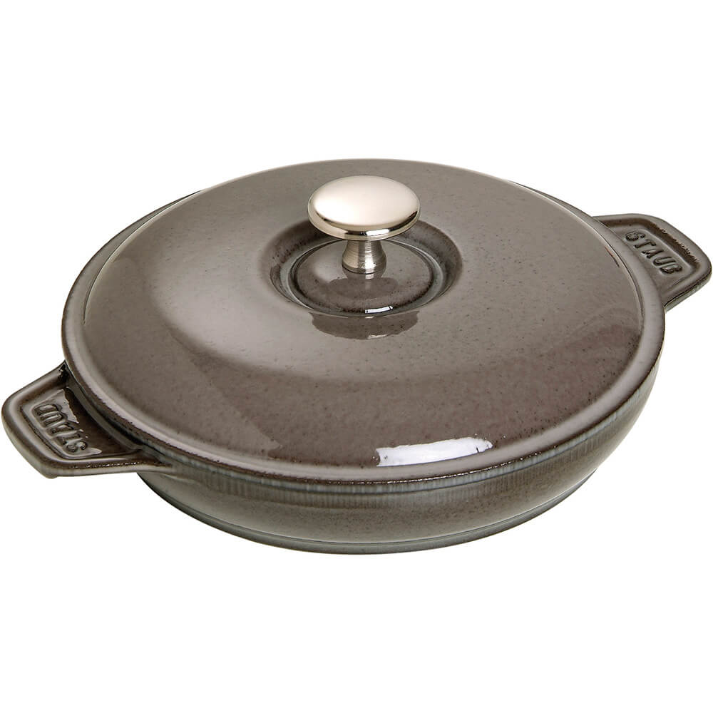 Graphite Grey, Round Cast Iron Plate With Lid, 0.75 Qt