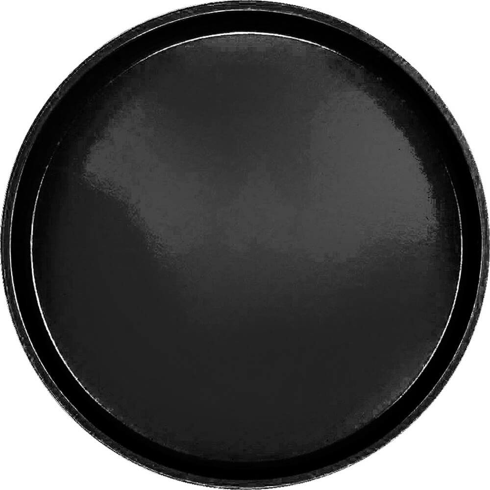 "Black, 16"" Low Profile Round Serving Tray, Fiberglass, 12/PK"