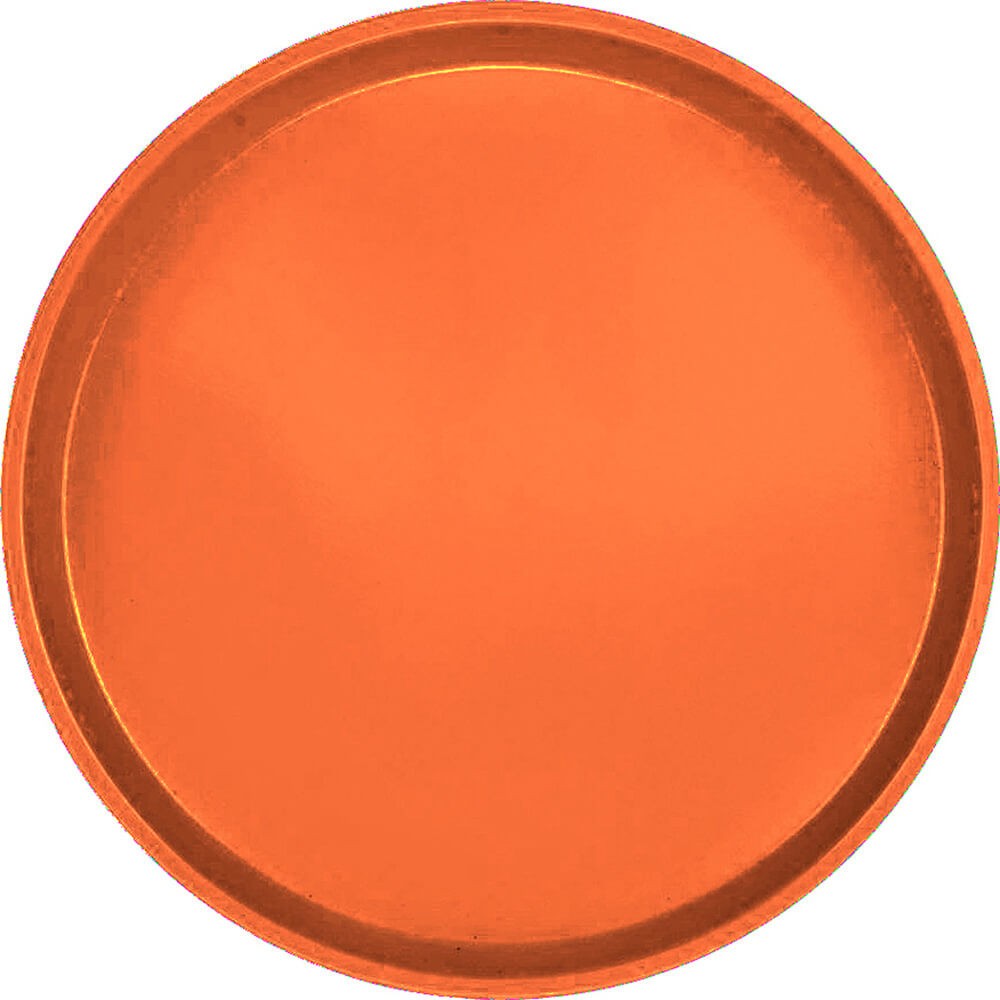 "Citrus Orange, 16"" Low Profile Round Serving Tray, Fiberglass, 12/PK"