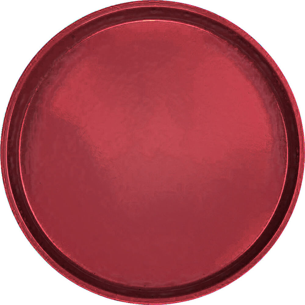 "Cherry Red, 16"" Low Profile Round Serving Tray, Fiberglass, 12/PK"