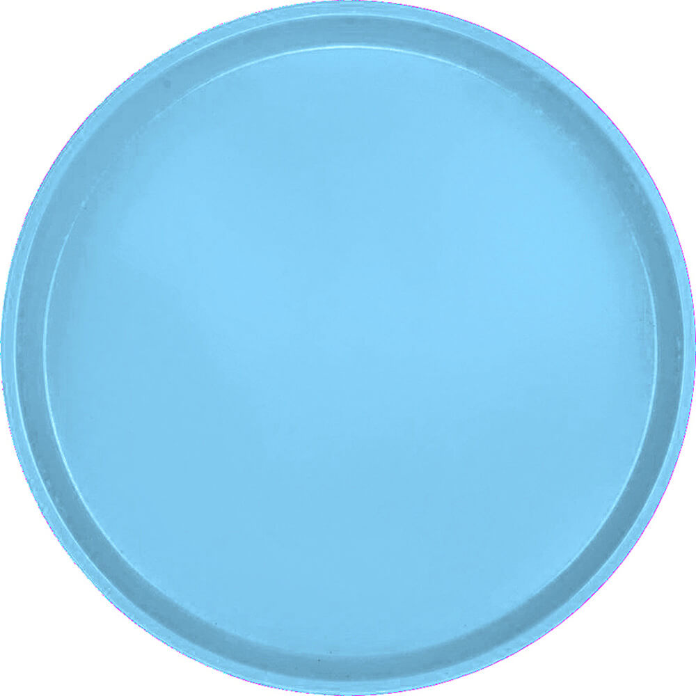 "Robin Egg Blue, 16"" Low Profile Round Serving Tray, Fiberglass, 12/PK"