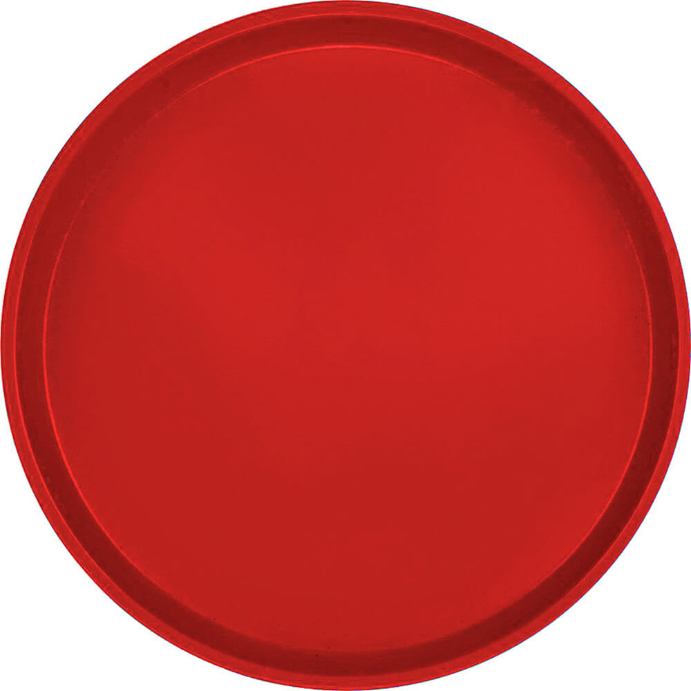 "Cambro Red, 14"" Round Serving Tray, Fiberglass, 12/PK"