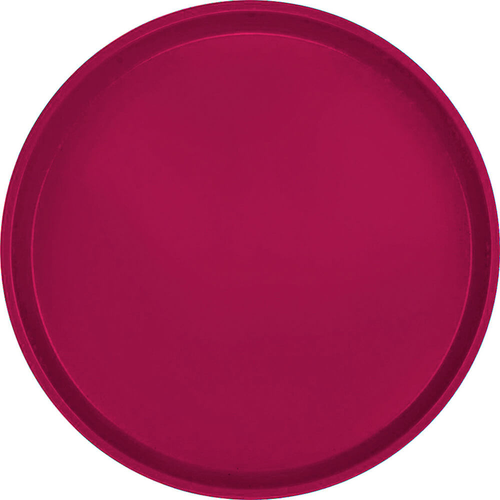 "Burgundy Wine, 16"" Low Profile Round Serving Tray, Fiberglass, 12/PK"