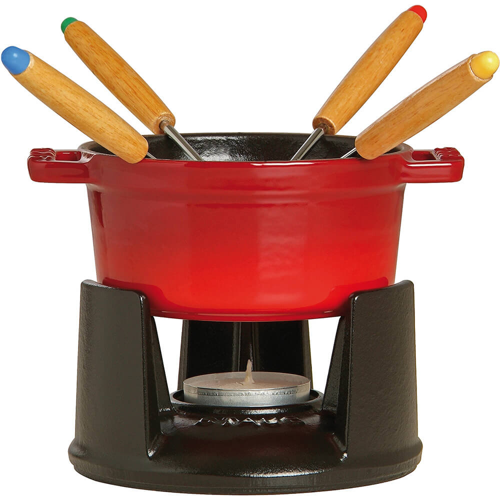 Cherry, Mini Cast Iron Chocolate Fondue Set With 4 Forks, 0.25 Qt