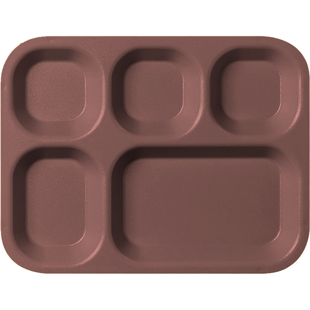 Brown, 5-Compartment Co-Polymer Cafeteria Trays, 24/PK