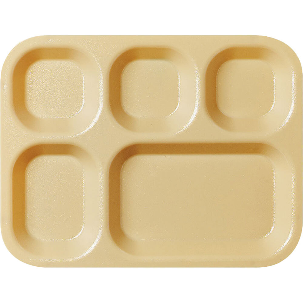 Tan, 5-Compartment Co-Polymer Cafeteria Trays, 24/PK