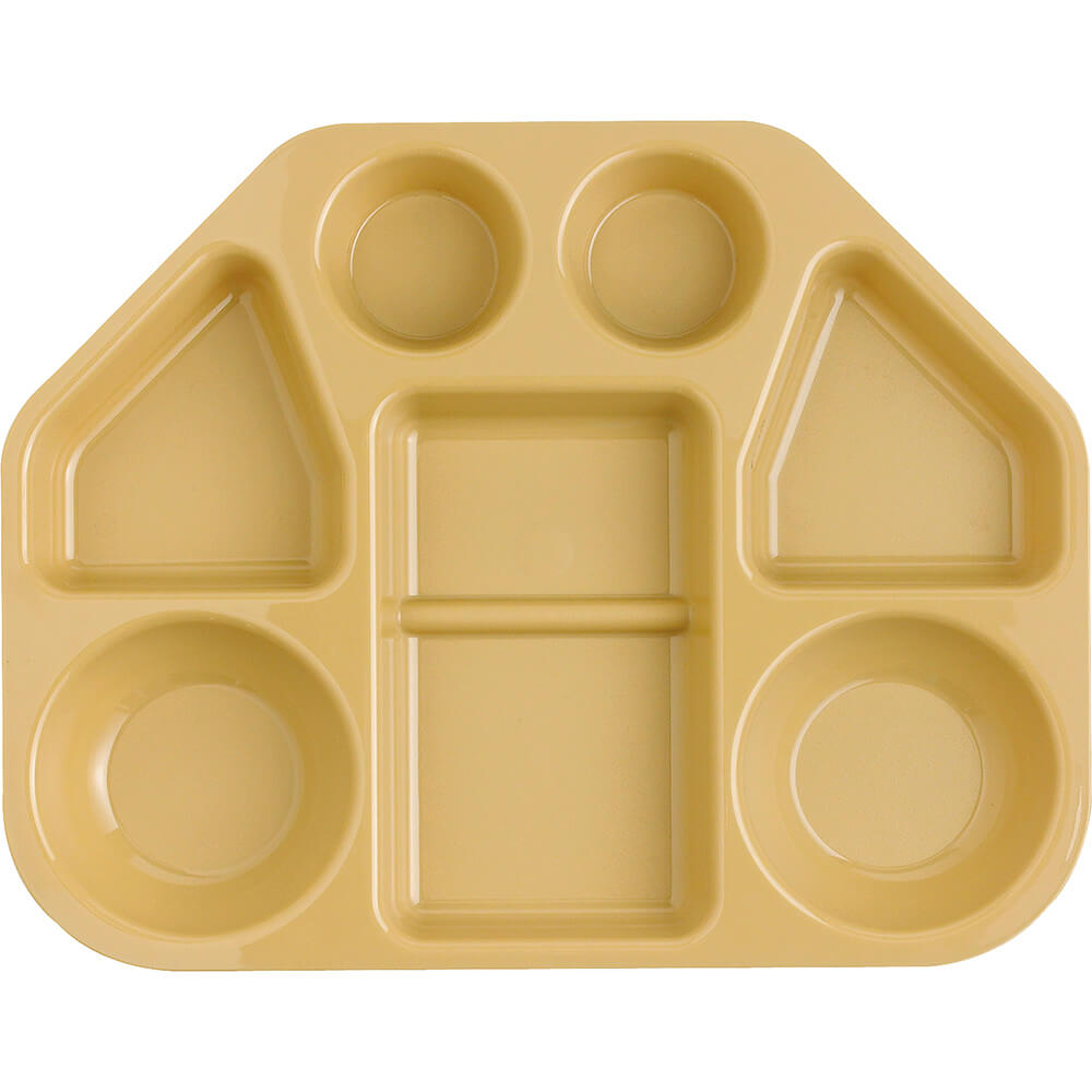 Beige, Polycarbonate Trapezoid 7-Compartment Cafeteria Trays, 12/PK