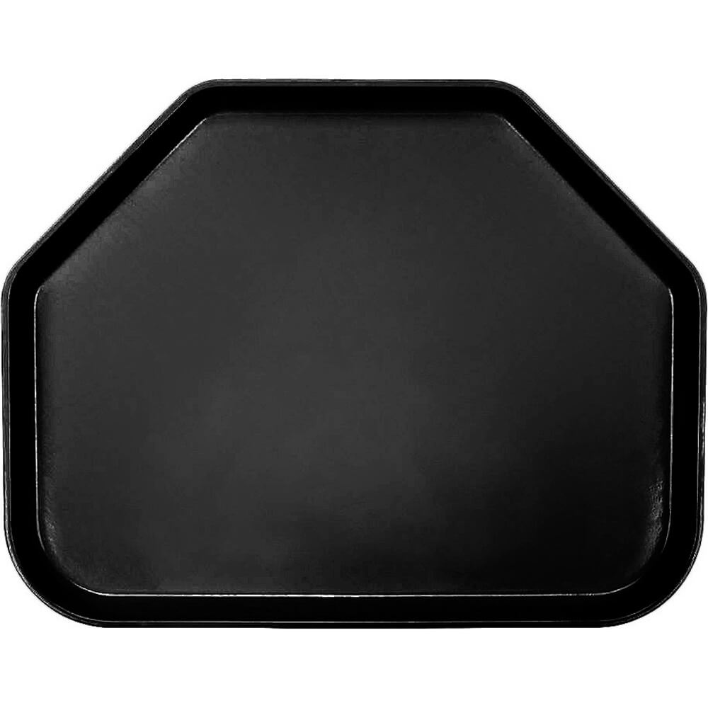 "Black, 14""x18"" Trapezoid Food Trays, Fiberglass, 12/PK"