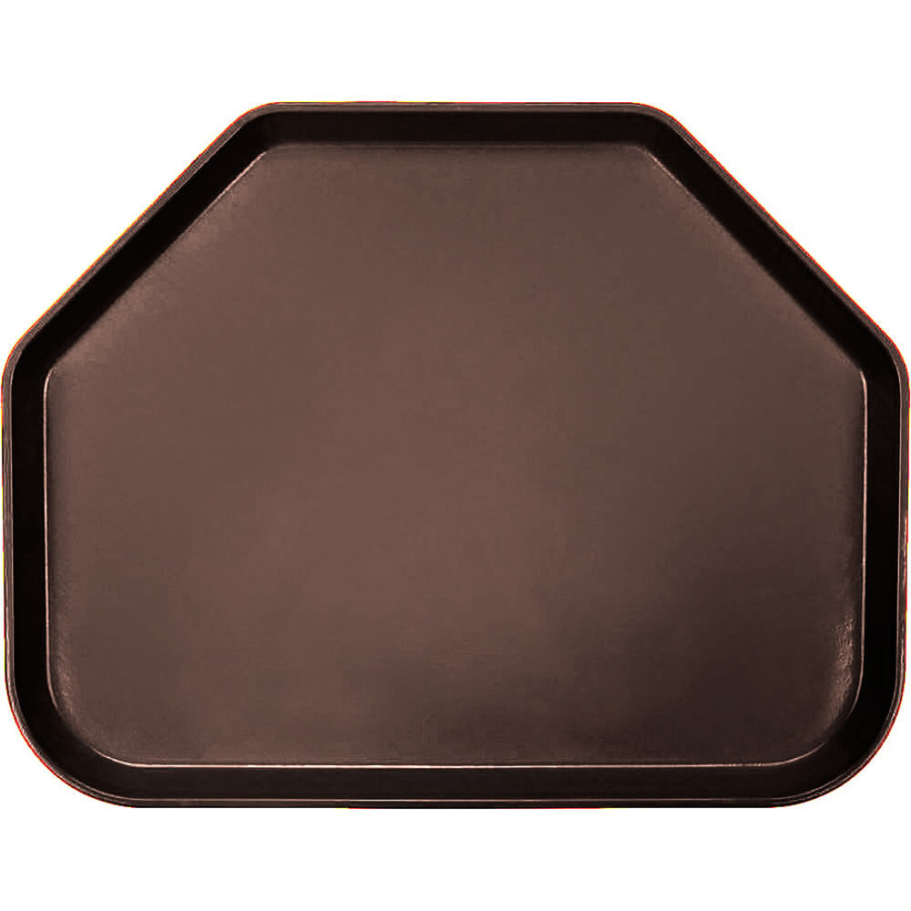 "Brazil Brown, 14""x18"" Trapezoid Food Trays, Fiberglass, 12/PK"