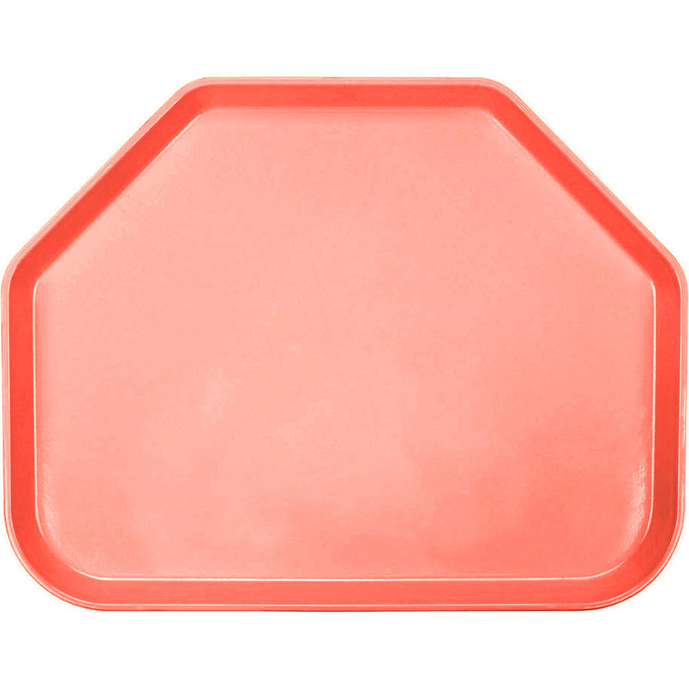 "Dark Peach, 14""x18"" Trapezoid Food Trays, Fiberglass, 12/PK"
