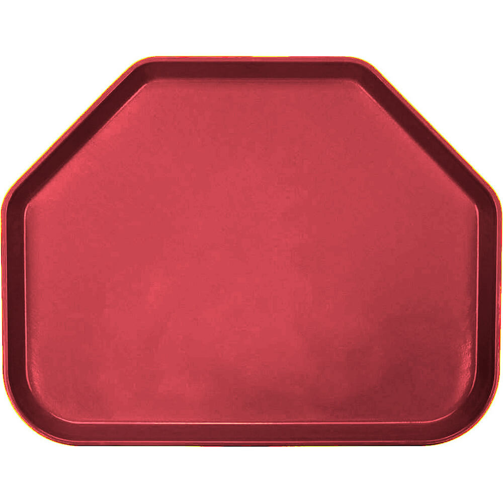 "Ever Red, 14""x18"" Trapezoid Food Trays, Fiberglass, 12/PK"