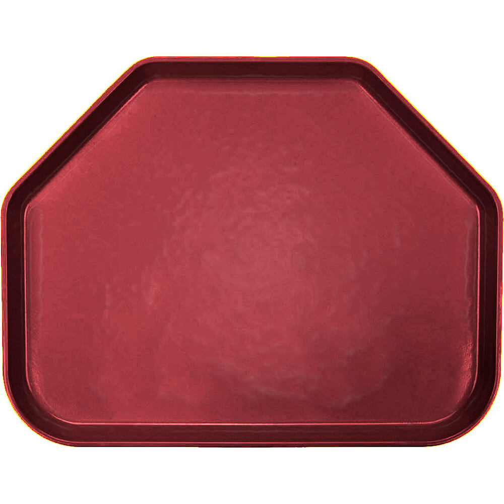 "Cherry Red, 14""x18"" Trapezoid Food Trays, Fiberglass, 12/PK"