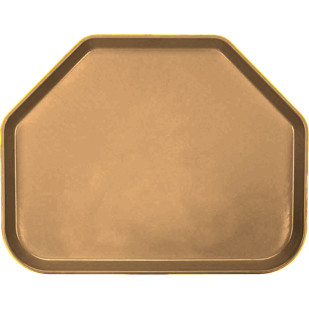"Suede Brown, 14""x18"" Trapezoid Food Trays, Fiberglass, 12/PK"