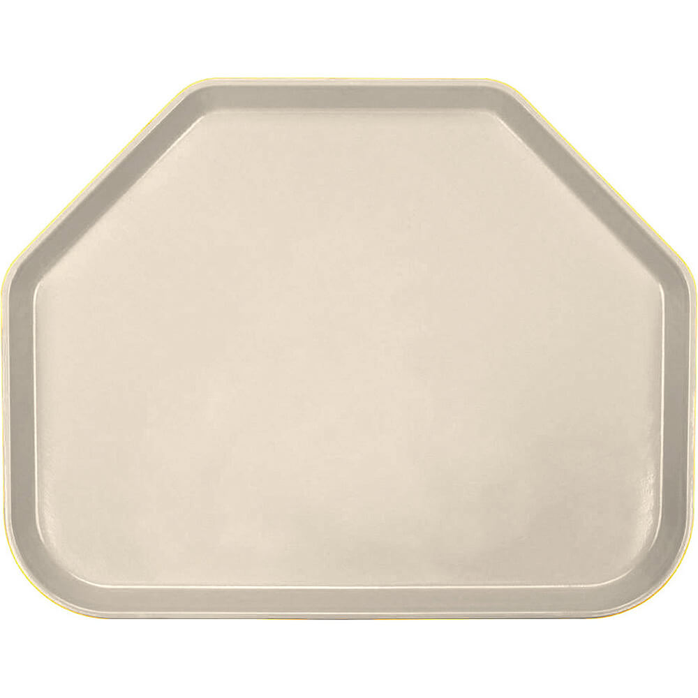 "Cameo Yellow, 14""x18"" Trapezoid Food Trays, Fiberglass, 12/PK"