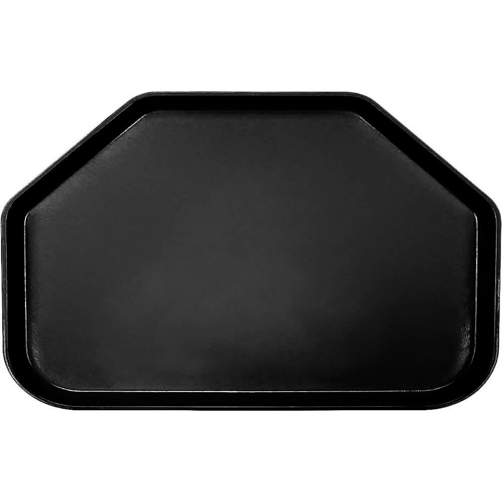 """Black, 14""""x22"""" Trapezoid Food Trays, Fiberglass, 12/PK"""
