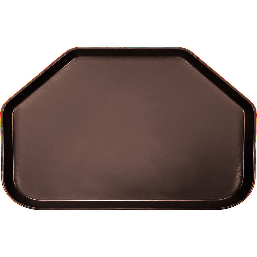 "Brazil Brown, 14""x22"" Trapezoid Food Trays, Fiberglass, 12/PK"